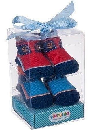 Kit Meia Presente Masculino Azul/vermelho