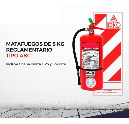 Matafuego 5kg Abc C/tarjeta Baliza Soporte Habilitacion