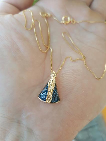 Colar Ping Nossa Senhora Aparecida Zircônia Azul Semi Joia