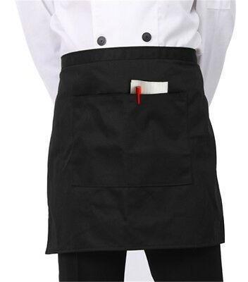 1 Negro Unisex Camarero Cintura Mitad Corto Delantal Re-6716