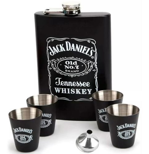 Cantil Jack Daniels Black Porta Bebida + 4 Copos Presente