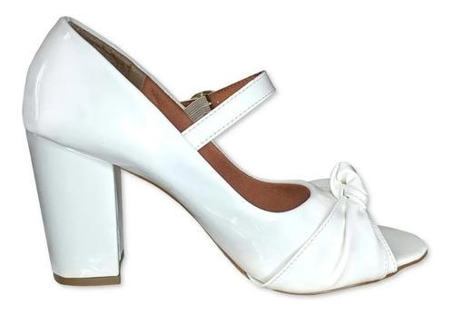 Imagem 1 de 2 de Sapato Feminino Branco Calçados Salto Noiva Salto Grosso Sh