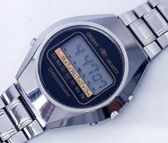 Relógio Orient Antigo Lcd Todo Aço Década De 70 Raro Moleza!