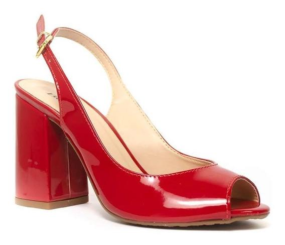 Sandália Sapato Peep Toe Vermelha Verniz Salto 10,0cm