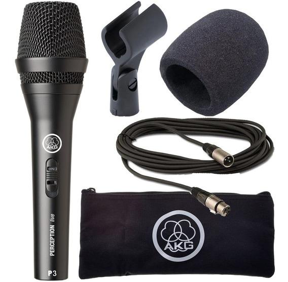 Microfone Akg P3s Com Cabo 5 Metros E Espuma Anti-ferrugem