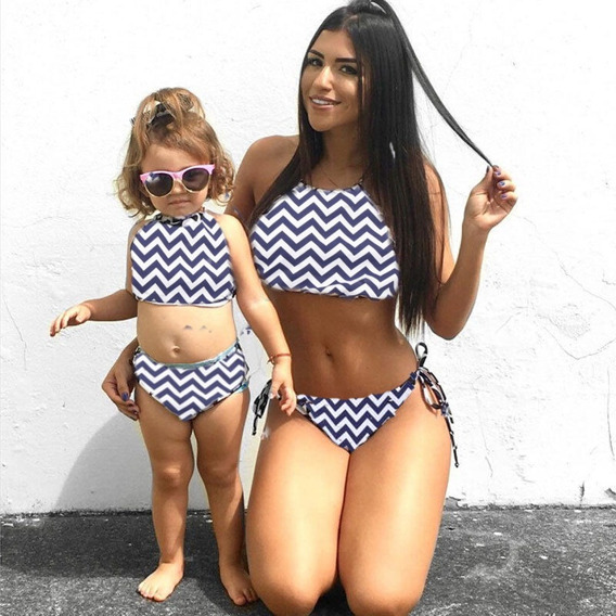 Biquini Cropped Com Bojo Bikini Tal Mãe Tal Filha Zig Zag