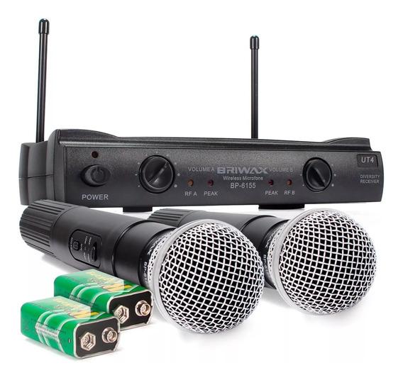 Microfone Digital Duplo Sem Fio Profissional Uhf 60m Bivolt
