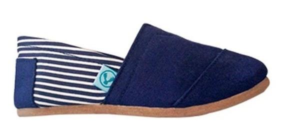 Zapato Alpargata Korvas Azul Marino Rayas Dama Mujer Casual