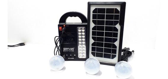 Placa Solar Com Bateria 3 Lâmpadas Led Lanterna