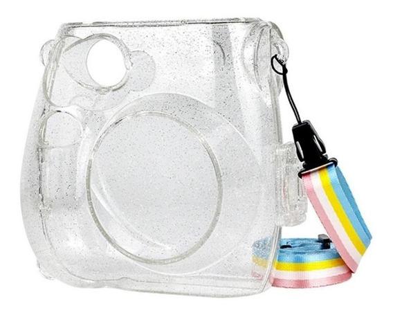 Case Capa Glitter Brilho Para Instax Mini 8 8+ 9 Com Alça