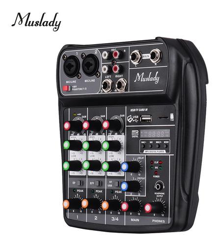 Muslady Ai-4 - Mezclador De Audio Digital Compacto