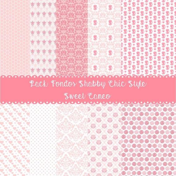 Pack 10 Fondos Shabby Chic Rosa Romance