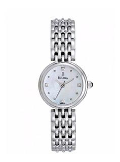 Reloj Bulova 96p122 Diamond Acero Dama Agente Oficial