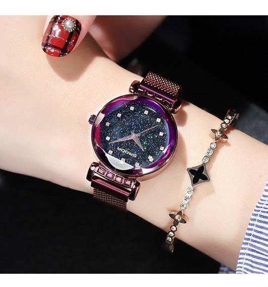 Promoção Relógio Feminino Pulseira Magnética Strass Roxo