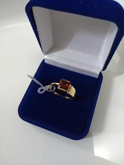 Anel Designer - Em Ouro 18k (750) Com Pedra Marrom, Lindo!!