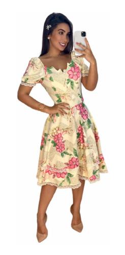 Imagem 1 de 3 de Vestido Midi Princesa Barras Rendadas Decote Assimétrico