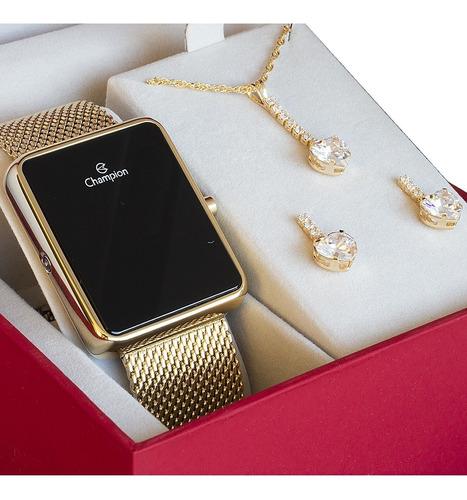 Relógio Dourado Champion Feminino Garantia + Colar Brinco