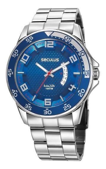 Relógio Seculus Masculino 28961g0svna1 Esportivo Prateado