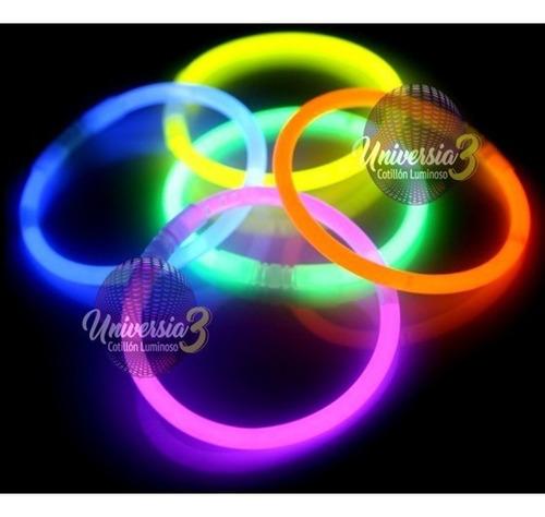 50 Pulsera Neon Quimica Fluo Cotillon Luminoso Combo Carioca