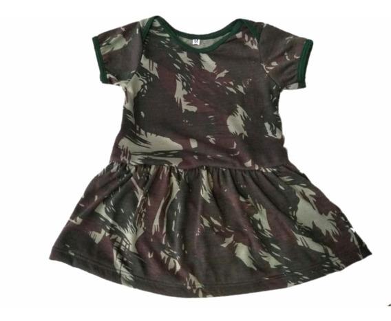 Body Bebê Com Saia Camuflado Exército - Menina
