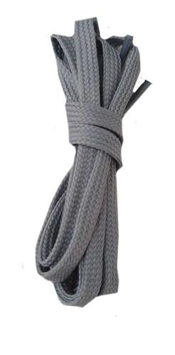 Imagem 1 de 1 de  Par Cadarço Chato Tênis Sapatênis  1,20cm Cinza