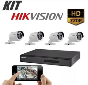 Kit Cftv 4 Câmeras Seg Hd 720p 2,8mm Dvr Hikvision 4 Canais