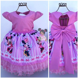 Vestido Infantil Minnie Rosa Luxo 1/4 Anos