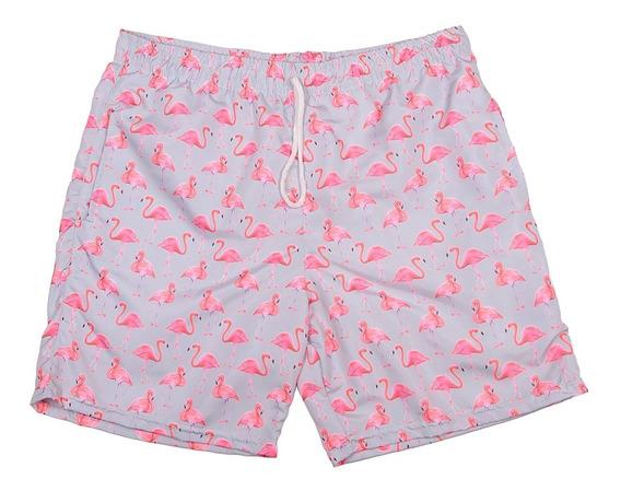 Short Praia Slim Flamingo