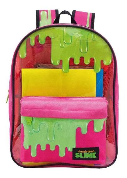 Mochila Costa Rosa Slime Com Frente Transparente 9231