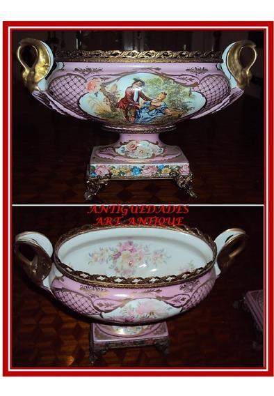 Garniture De Porcelana Francesa Limoge Y Bronce Dorado (j)