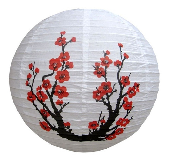 Luminária Sakura Japonesa Oriental Lanterna 30cm Hachi8