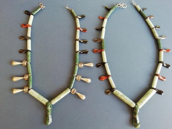 Collar De Jade Tipo Prehispánico, Con Jade Manzano, Obsidian