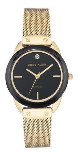 Relógio Analógico Anne Klein Diamante 3258-bkgb Feminino - Dourado / Preto