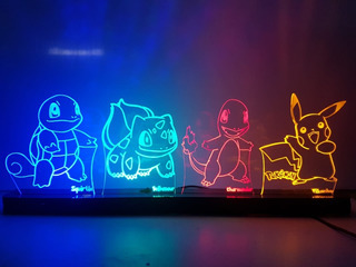 Abajur Luminária Led Pokemon 4 Personagens 45cm