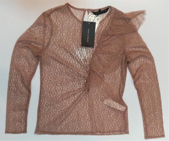 Blusa De Renda Com Transparência-babado Zara Importado*nova*