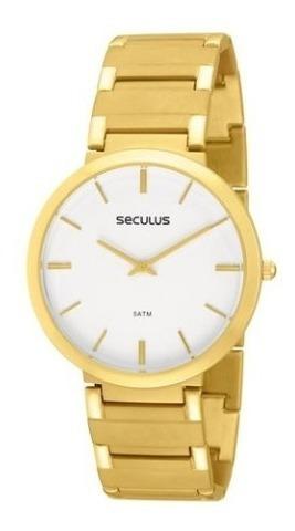 Relógio Pulso Seculus Masculino Dourado Casual