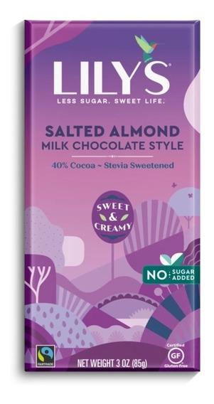 Lily´s Chocolate Almendra Salada Leche 40% Con Stevia 85g Se