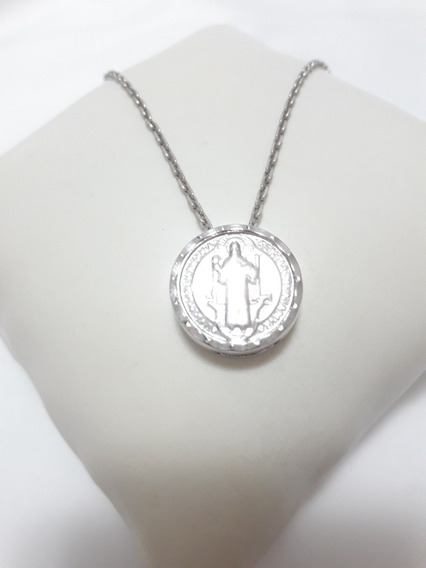 Colar Com Medalha São Bento - Folheado A Ouro Branco - 45cm
