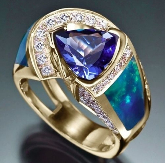 Anel Prata Maciça 925 Folh. A Ouro 18k Pedras Safira&zircão