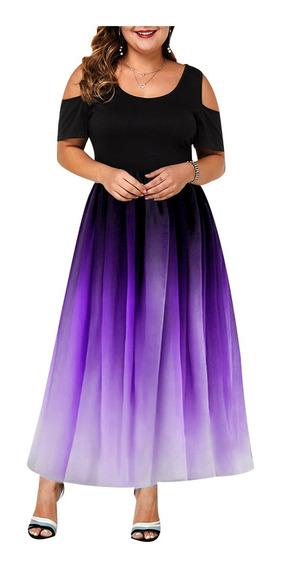 Vestidos De Noche Fiesta Gradiente Elegante Talla Extra Moda