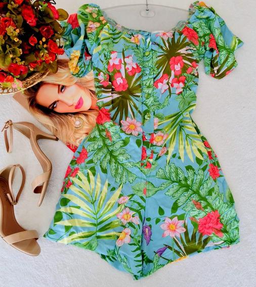 Macaquinho Ciganinha Floral Botoes Tam 38 E 40