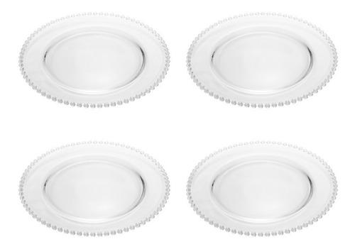 Imagem 1 de 4 de Conjunto 4 Pratos Cristal Wolff De Chumbo Pearl Clear 27cm