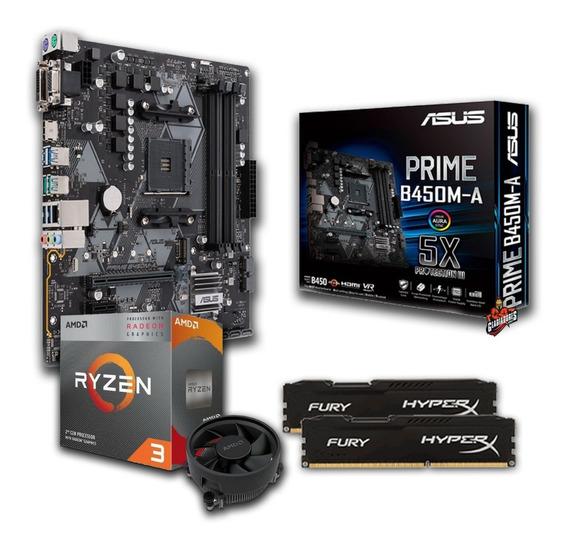 Kit Amd Ryzen 3 2200g + Asus Prime B450m-a+ 2x8gb Ddr4 2666