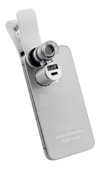 Mini Lupa Para Celular Smartphone Led E Ultravioleta 60x