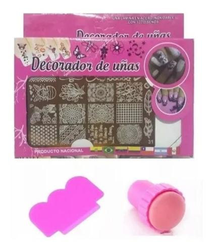 Kit Plantilla Y Sello Decorador De Uñas