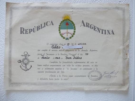 Diploma Servicio Militar Marina Guerra1968 San Isidro (3b)