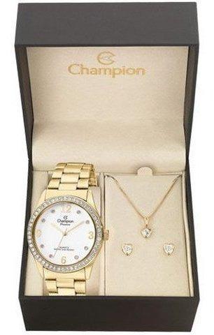 Kit Relógio Champion Feminino Cn25314w Com Semi Joia