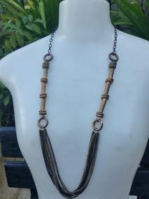 Colar Fashion Preto E Bronze Com Correntes - Usado