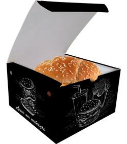 Caixinha Box Embalagem Hamburger Gourmet 100un Preto