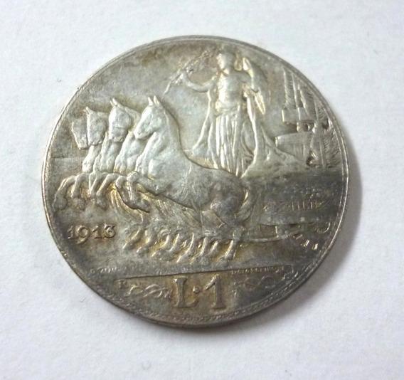 Italia 1913 Moneda 1 Lira Plata Carro Evaristo Luigi Giorgi